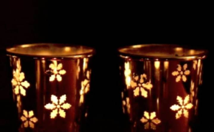 Snowflake Candles Along Bottom Third (warm tint)