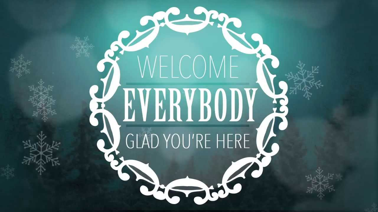 Welcome Message on Winter Background – Blue