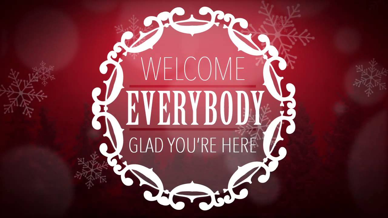 Welcome Message on Winter Background – Red